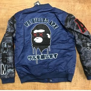 New! Mens Bape Puffer Bomber Shark Jacket